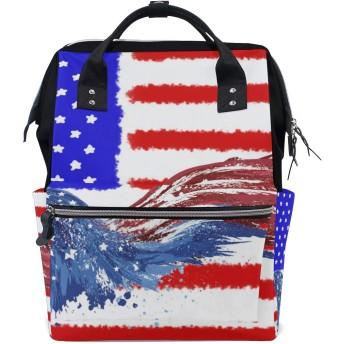 鳥アメリカ国旗おむつ バッグ バックパック ママバッグ カジュアル 軽量 大容量 トラベル マミー用