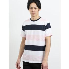 【semantic design:トップス】コールドタッチスラブリップルボーダークルーネック半袖Tシャツ