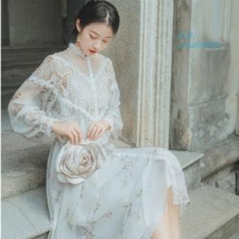 ワンピース レディース 40代 花柄 シフォン ワンピース 長袖 レース 秋 マキシワンピース お出かけ 結婚式ドレス ドレス 通勤 きれいめ