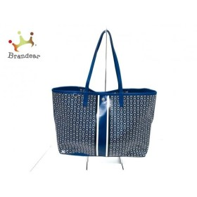 トリーバーチ TORY BURCH トートバッグ ブルー×白×黒 コーティングキャンバス×レザー   スペシャル特価 20191105