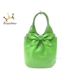 シビラ Sybilla ハンドバッグ グリーン リボン レザー   スペシャル特価 20200121
