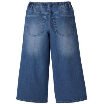 60%OFF【レディース】 ワイドクロップドジーンズ(吸汗速乾) - セシール ■カラー:ウォッシュブルー ■サイズ:S,M,L,3L