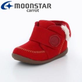 ≪セール≫ムーンスター キャロット 子供靴 ベビーシューズ MS B104 フント レッド モカシン風 ベビーシューズ
