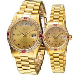 Ogival 愛其華 星光璀璨時尚對錶(3932DMK+3932DLK)金色