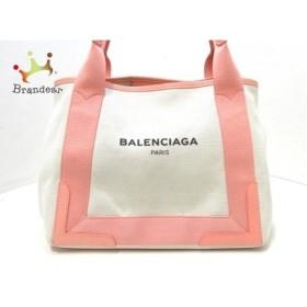 バレンシアガ トートバッグ 美品 ネイビーカバS 339933 ベージュ×ピンク キャンバス×レザー  値下げ 20191005