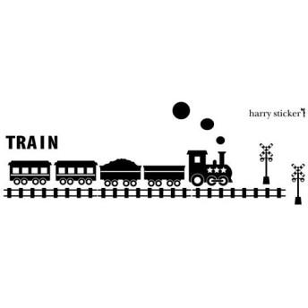 HARRY STICKER ウォールステッカー 貼ってはがせる 転写式 train (電車) /ブラック/M 約45cm×45cm
