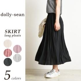 2017新作【送料無料】dolly-sean ドリーシーン  サテン ロング プリーツ スカート レディース M-8390