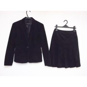 クリアインプレッション CLEAR IMPRESSION スカートスーツ サイズ2 M レディース 黒 ベロア/プリーツ【中古】20190911