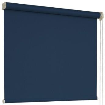 1級遮光 ロールスクリーン 防炎 幅36×丈100cm 右操作 インディゴブルー