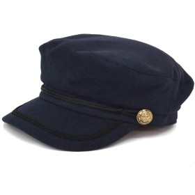 cielhat(シエルハット) マリンキャスケット ウール混 レディース 飾りベルト・飾りボタン付き 帽子 (ネイビー)