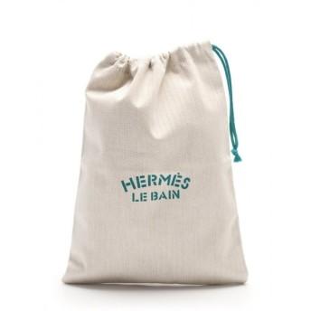 エルメス HERMES アリーヌ LE BAIN 巾着ポーチ キャンバス ベージュ 緑 レディース 中古