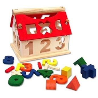 「HappyHome」 木のおもちゃ 家型 型はめ 立体パズル 積み木 ブロック