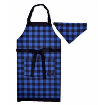 子供用 エプロン130-160 三角巾付き バッファローチェック・ブルー N1231330