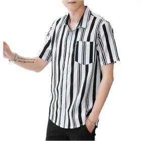[YACORESYA(夜行列車)]シャツメンズカジュアルシャツストライプワイシャツ半袖綿ボタンアップビジネストップス開襟シャツ春夏秋M-5XL