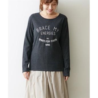【色柄選べる】プリント長袖Tシャツ (Tシャツ・カットソー)(レディース)T-shirts