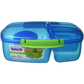 Sistema Lunch Collection Triple Split Lunch Box with Yogurt Pot Food Storage Container, 67.6 oz, Blue by Sistema