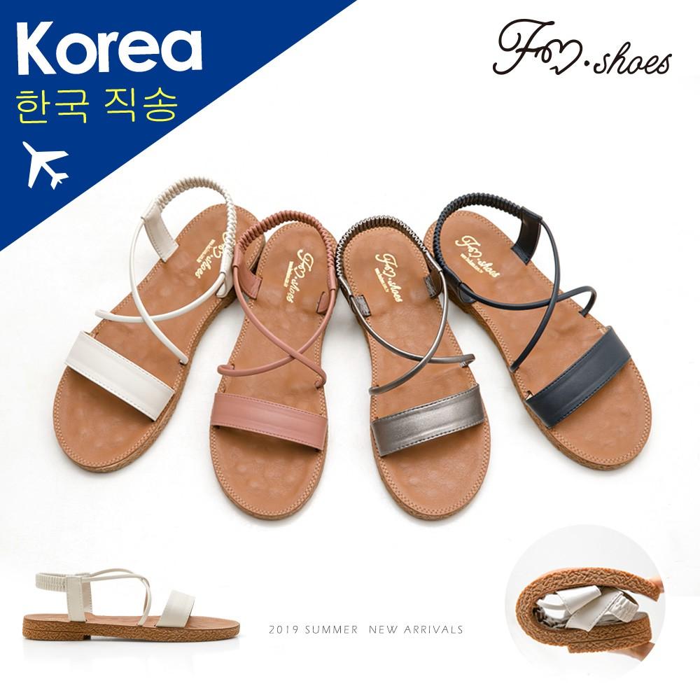 【FMSHOES】韓-一字彈性踝帶按摩墊涼鞋﹝杏、藍﹞-大尺碼-00007420