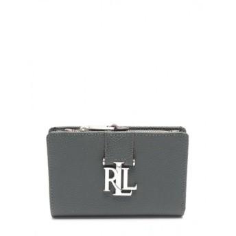 ローレンラルフローレン LAUREN RALPH LAUREN 二つ折り財布 レザー グレー ロゴ金具 レディース 中古