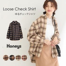 シャツ レディース アウター 長袖 ウール チェック ビッグシルエット 大きいサイズ 秋 冬 SALE Honeys ゆるチェックシャツ