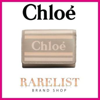 クロエ Chloe 財布 小財布 三つ折り パステルグレー グレー ゴールド レザー 本革