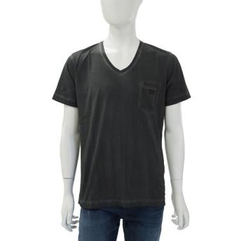 ディーゼル DIESEL Tシャツ 半袖 Vネック T-ORTHOS MAGLIETTA メンズ 00SFGG 0HACI グレー