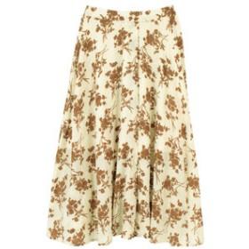 【titivate:スカート】フラワープリントスリットフレアスカート