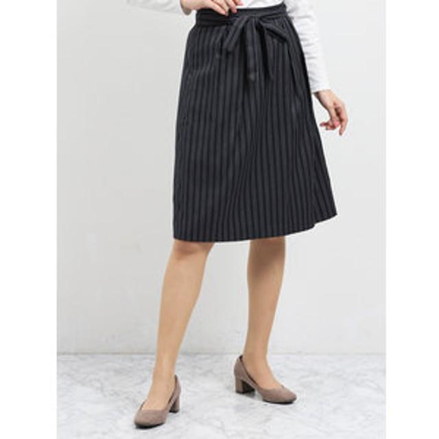 【m.f.editorial:スカート】共ベルト付ストライプ柄タックフレアースカート