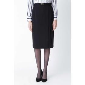 PINKY & DIANNE [ウォッシャブル]ダブルラップスリットスカート ひざ丈スカート,ブラック