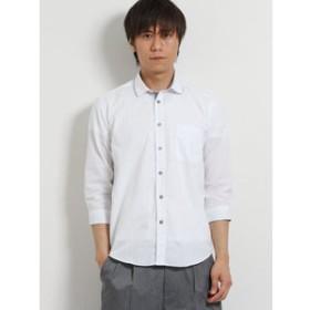 【TAKA-Q:トップス】サッカーパイピング衿ワイヤー7分袖シャツ