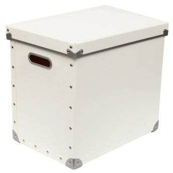 安達紙器 収納ケース 硬質パルプ ボックス フタ式 大 (幅25.5×奥行36×高さ32cm) PBF-823 ホワイト
