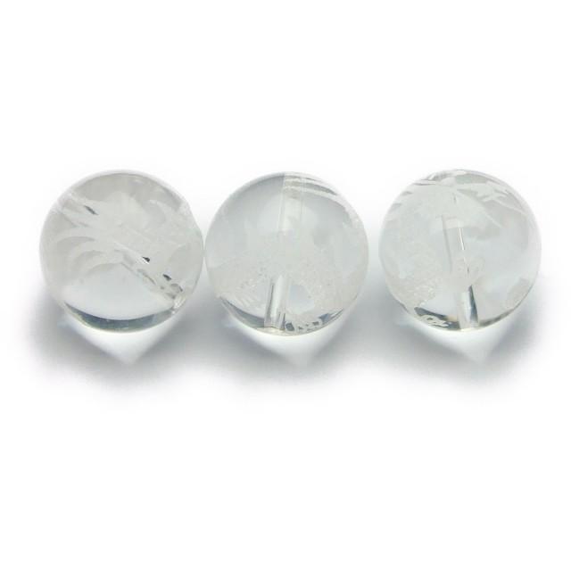 【hinryo】1粒売り A 干支 十二支彫 10mm 水晶 クリスタル 天然石 パワーストーン (辰 たつ g3-2305M)