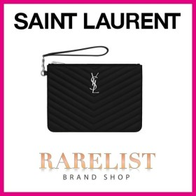 サンローラン SAINT LAURENT PARIS バッグ ポーチ クラッチバック ブラック シルバー レザー YSL ロゴ