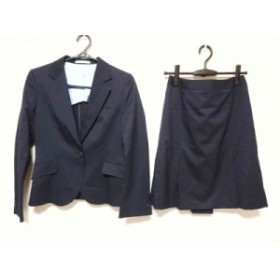 レミュー LES MUES スカートスーツ サイズM レディース 美品 黒 肩パッド/ストライプ【中古】20190912