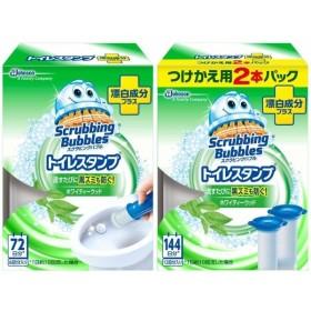 スクラビングバブル トイレ洗浄剤 トイレスタンプ 漂白成分プラス ホワイティーウッドの香り 本体 (ハンド