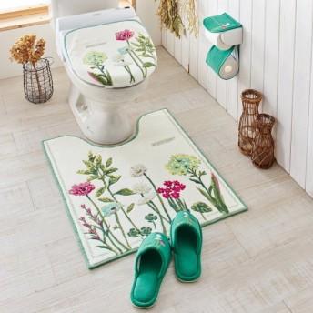 トイレマットボタニカルフラワーデザインのトイレマット・フタカバー(単品・セット) 「グリーン」