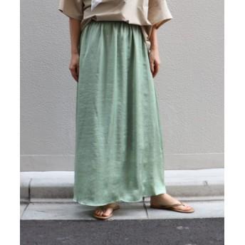 サテンマキシスカート
