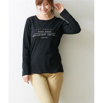 プリント長袖Tシャツ(シンプルロゴ) (Tシャツ・カットソー)(レディース)T-shirts