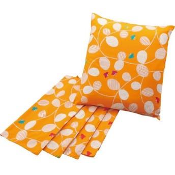 のんはん 座布団カバー5枚セット(千鳥) オレンジF1302−5ORのんはん