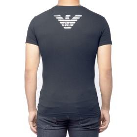 EMPORIO ARMANI(エンポリオアルマーニ) メンズ クルーネック 丸首 コットン スリムフィット バックプリント 半袖 Tシャツ イーグルマーク ロゴ 白 黒 紺 [1110359a725] [並行輸入品]