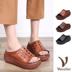 【Vecchio】真皮頭層牛皮復古水玉縷空圓頭魚口寬楦包腳超輕量厚底拖鞋 (3色任選)