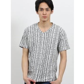【semantic design:トップス】タテ柄ふくれジャガードVネック半袖Tシャツ