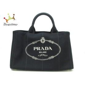 プラダ PRADA トートバッグ 美品 CANAPA 黒×アイボリー キャンバス  値下げ 20191015