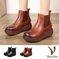 【Vecchio】真皮頭層牛皮復古擦色厚底切爾西短靴 (2色任選)
