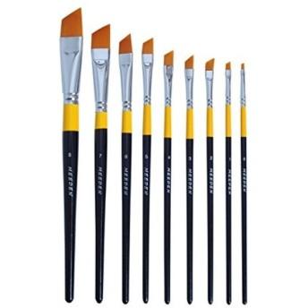 ペイントブラシ セット 絵筆 画筆 ナイロン製 斜めの筆先 平筆 9本[XTHUAS09](斜め頭)