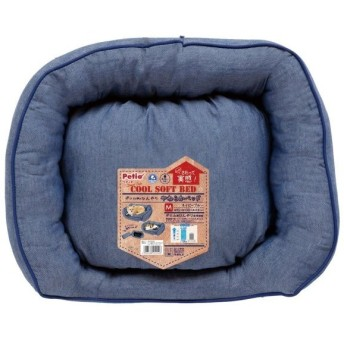 ペティオ (Petio) デニム調のひんやりやわらかベッド ネイビーブルー ペット用 M サイズ
