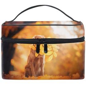 収納バッグ 化粧ポーチ レディース 多機能 大容量 防水ゴールデンレトリーバー葉を葉します。