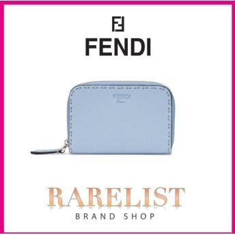 フェンディ FENDI 財布 コインケース カードケース ラウンドジップ ラウンドファスナー 新作 ライトブルー シルバー レザー 本革