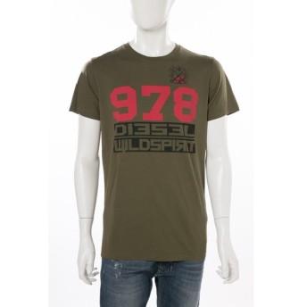 ディーゼル DIESEL Tシャツ 半袖 丸首 T-DIEGO-IW MAGLIETTA メンズ 00SUNH 0091B カーキ