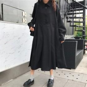 ワンピース レディース シャツワンピース 長袖 秋 冬 ロング ゆったり 大きいサイズ かわいい (w600)