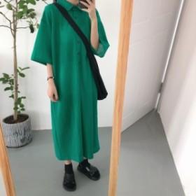 ポロシャツ ワンピース 襟 ゆったり オーバーサイズ ロング ミモレ 七分丈 2color ブラック グリーン 送料無料